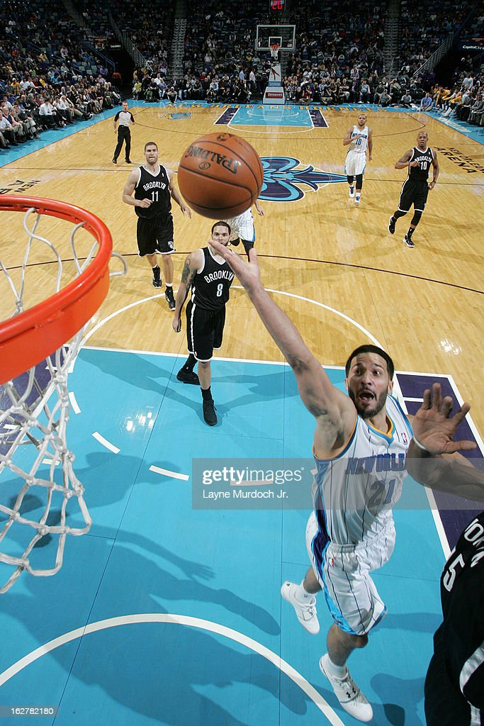<a gi-track='captionPersonalityLinkClicked' href=/galleries/search?phrase=Greivis+Vasquez&family=editorial&specificpeople=4066977 ng-click='$event.stopPropagation()'>Greivis Vasquez</a> #21 of the New Orleans Hornets shoots against the Brooklyn Nets on February 26, 2013 at the New Orleans Arena in New Orleans, Louisiana.