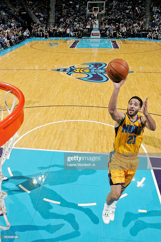 Greivis Vasquez #21 of the New Orleans Hornets shoots in the lane against the Detroit Pistons on March 1, 2013 at the New Orleans Arena in New Orleans, Louisiana.