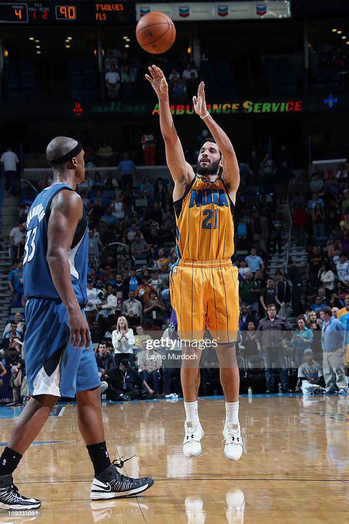 Greivis Vasquez #21 of the New Orleans Hornets takes a wide open shot against the Minnesota Timberwolves on January 11, 2013 at the New Orleans Arena in New Orleans, Louisiana.