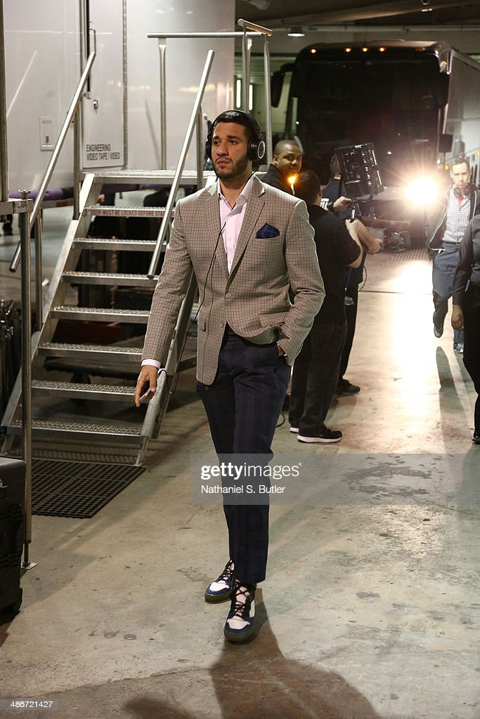 Greivis Vasquez of the Toronto Raptors arrives at the arena before Game Three of the Eastern Conference Quarterfinals against the Brooklyn Nets...