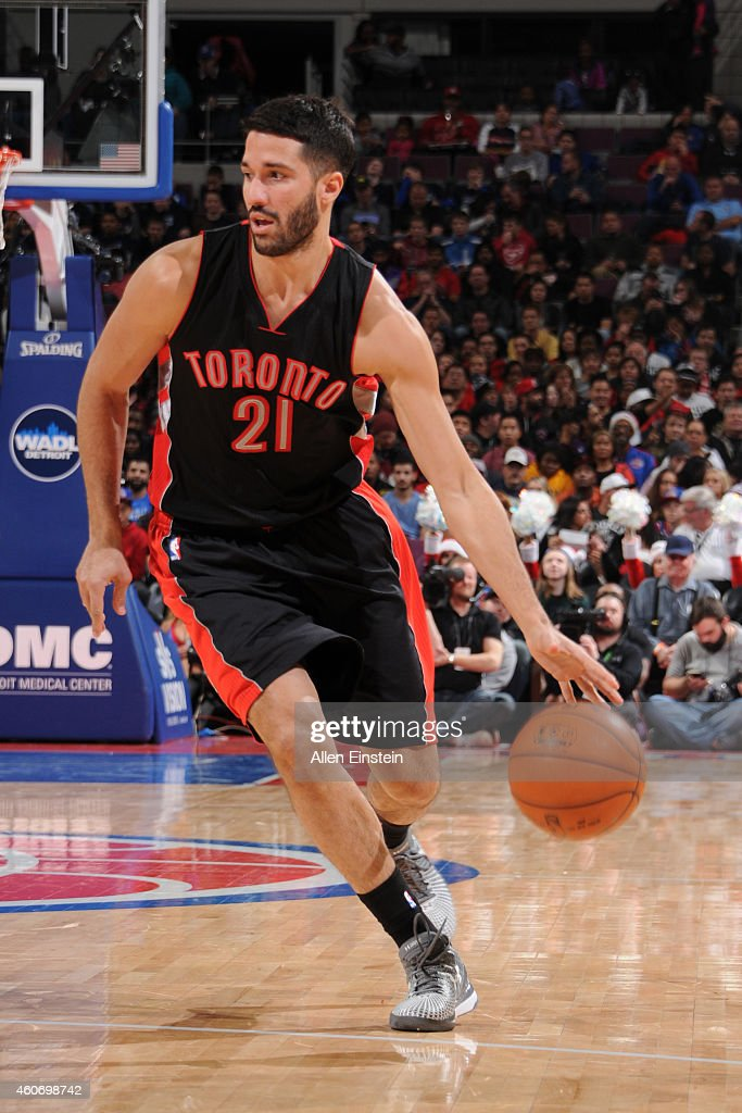 Greivis Vasquez of the Toronto Raptors brings the ball up court against the Detroit Pistons on December 19 2014 at the Palace of Auburn Hills in...