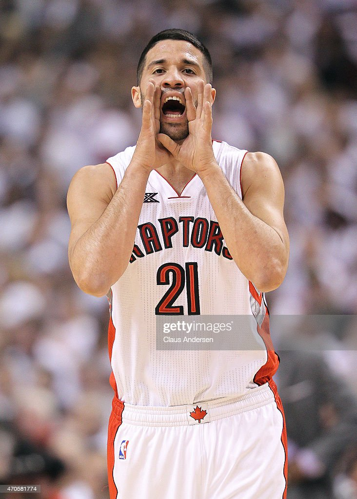 Greivis Vasquez of the Toronto Raptors calls a play against the Washington Wizards in Game Two of the Eastern Conference Quarterfinals during the...