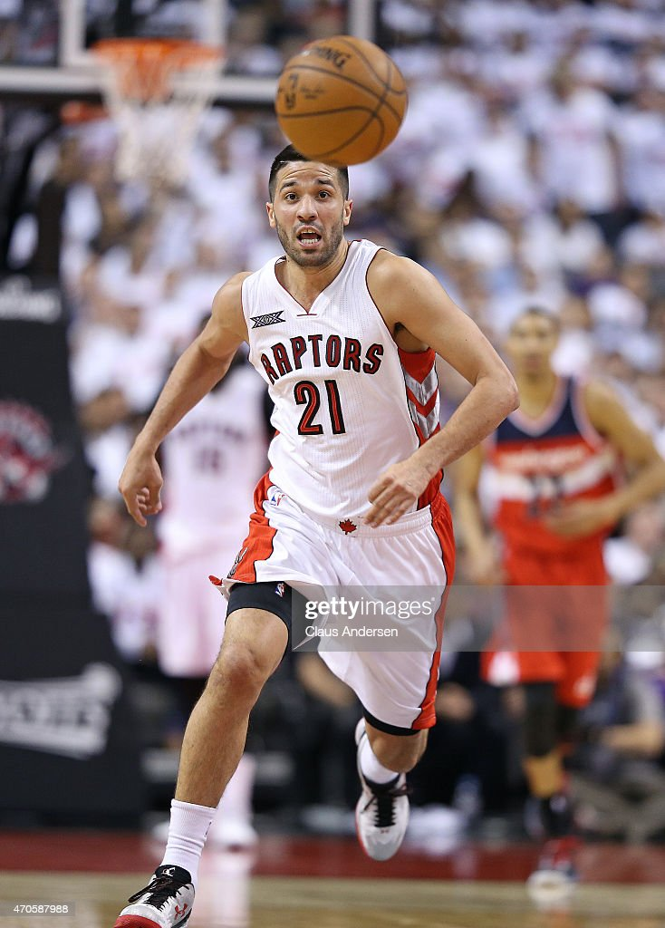Greivis Vasquez of the Toronto Raptors chases after a loose ball against the Washington Wizards in Game Two of the Eastern Conference Quarterfinals...