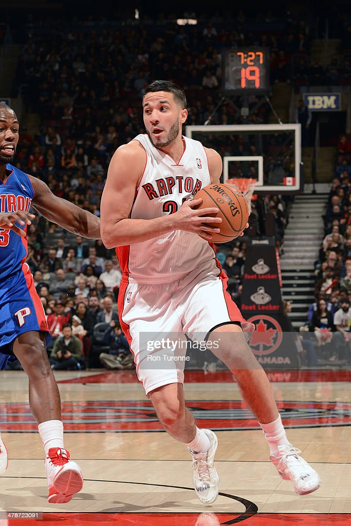 <a gi-track='captionPersonalityLinkClicked' href=/galleries/search?phrase=Greivis+Vasquez&family=editorial&specificpeople=4066977 ng-click='$event.stopPropagation()'>Greivis Vasquez</a> #21 of the Toronto Raptors drives against the Detroit Pistons on March 12, 2014 at the Air Canada Centre in Toronto, Ontario, Canada.