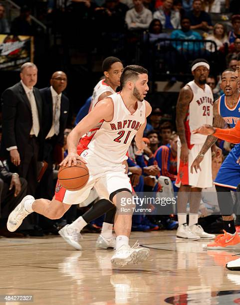 Greivis Vasquez of the Toronto Raptors drives against the New York Knicks on April 11 2014 at the Air Canada Centre in Toronto Ontario Canada NOTE TO...
