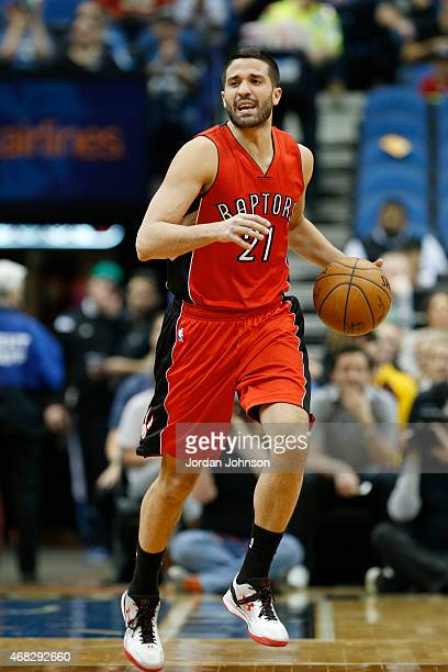 Greivis Vasquez of the Toronto Raptors drives to the basket against the Minnesota Timberwolves during the game on April 1 2015 at Target Center in...