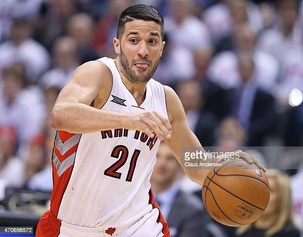 Greivis Vasquez of the Toronto Raptors drives to the basket against the Washington Wizards in Game Two of the NBA Eastern Conference Quarterfinals at...