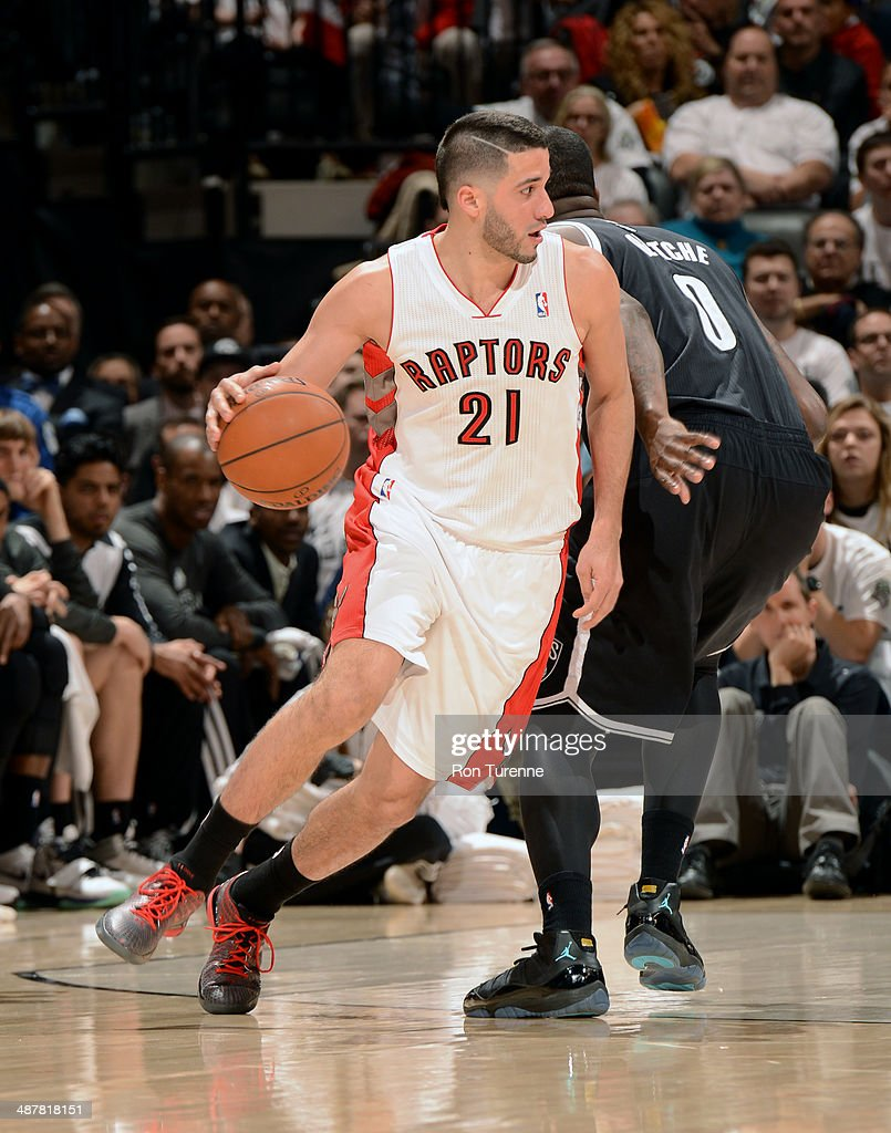Greivis Vasquez of the Toronto Raptors drives to the basket in Game Five of the Eastern Conference Quarterfinals against the Brooklyn Nets furing the...