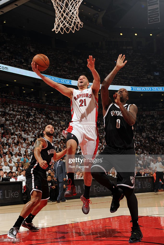 <a gi-track='captionPersonalityLinkClicked' href=/galleries/search?phrase=Greivis+Vasquez&family=editorial&specificpeople=4066977 ng-click='$event.stopPropagation()'>Greivis Vasquez</a> #21 of the Toronto Raptors drives to the basket in Game Five of the Eastern Conference Quarterfinals against the Brooklyn Nets furing the 2014 NBA Playoffs on April 30, 2014 at the Air Canada Centre in Toronto, Ontario, Canada.