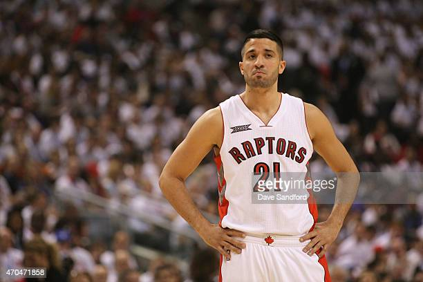 Greivis Vasquez of the Toronto Raptors during the game against the Washington Wizards during Game One of the Eastern Conference Quarterfinals of the...