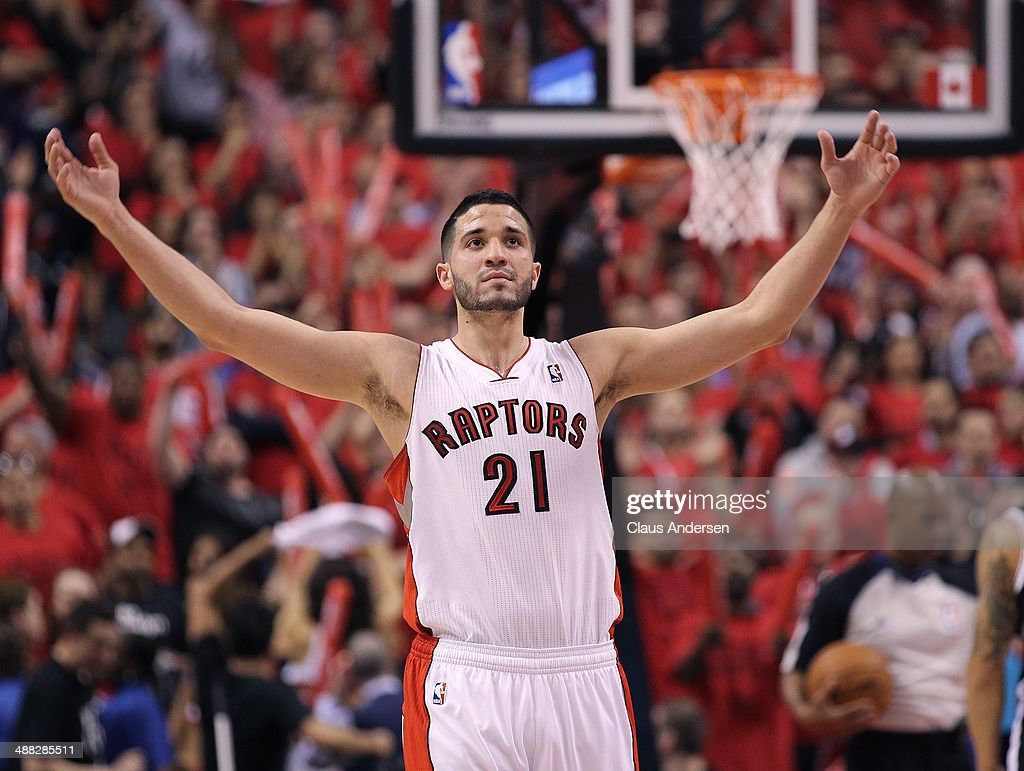 Greivis Vasquez of the Toronto Raptors gets the crowd going against the Brooklyn Nets in Game Seven of the NBA Eastern Conference Quarterfinals at...