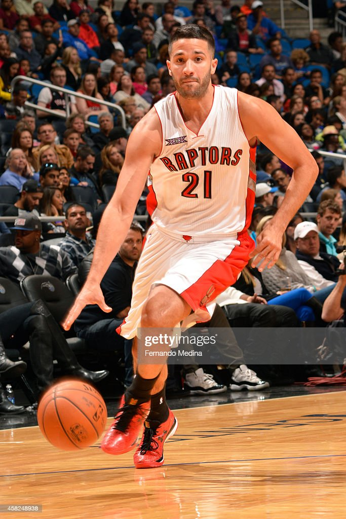 Greivis Vasquez of the Toronto Raptors handles the ball against the Orlando Magic on November 1 2014 at Amway Center in Orlando Florida NOTE TO USER...