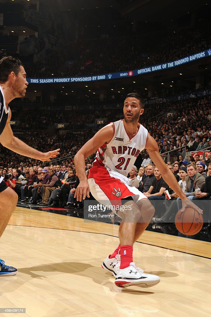 Greivis Vasquez of the Toronto Raptors handles the ball against the Oklahoma City Thunder on November 4 2014 at the Air Canada Centre in Toronto...