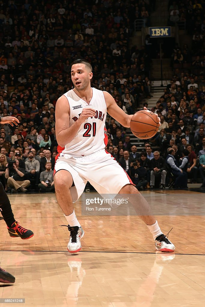 Greivis Vasquez of the Toronto Raptors handles the ball against the Cleveland Cavaliers on March 4 2015 at the Air Canada Centre in Toronto Ontario...