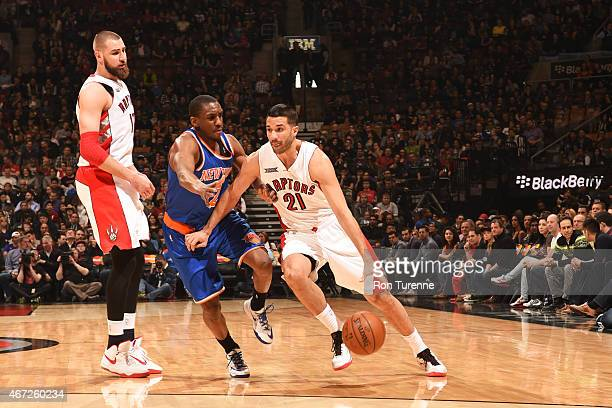 Greivis Vasquez of the Toronto Raptors handles the ball against the New York Knicks on March 22 2015 at the Air Canada Centre in Toronto Ontario...