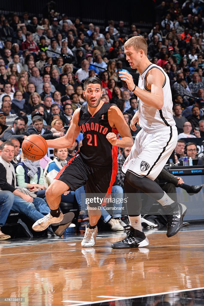 <a gi-track='captionPersonalityLinkClicked' href=/galleries/search?phrase=Greivis+Vasquez&family=editorial&specificpeople=4066977 ng-click='$event.stopPropagation()'>Greivis Vasquez</a> #21 of the Toronto Raptors handles the ball against the Brooklyn Nets on March 10, 2014 at the Barclays Center in Brooklyn, New York.