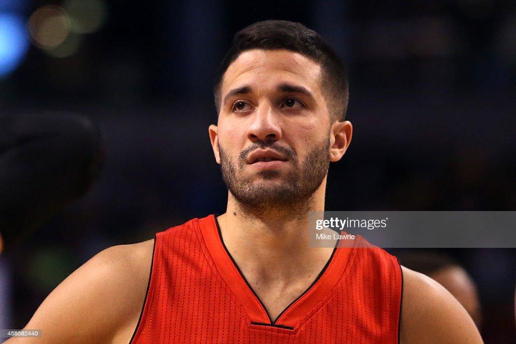 Greivis Vasquez of the Toronto Raptors looks on after a play against the Boston Celtics at TD Garden on November 5 2014 in Boston Massachusetts NOTE...