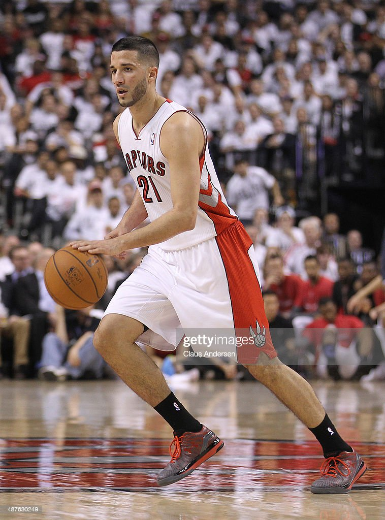 Greivis Vasquez of the Toronto Raptors plays against the Brooklyn Nets in Game Five of the NBA Eastern Conference Quarterfinals at the Air Canada...