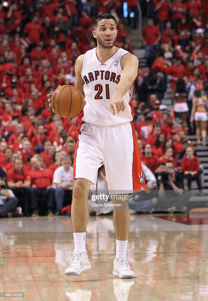 Greivis Vasquez of the Toronto Raptors plays against the Brooklyn Nets in Game Seven of the NBA Eastern Conference Quarterfinals at the Air Canada...