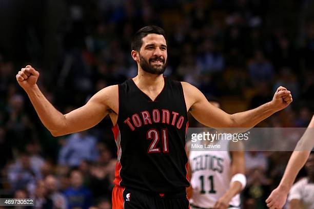 Greivis Vasquez of the Toronto Raptors reacts after a play in the fourth quarter against the Boston Celtics at TD Garden on April 14 2015 in Boston...
