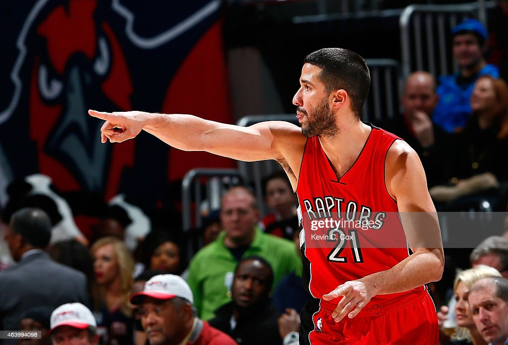 <a gi-track='captionPersonalityLinkClicked' href=/galleries/search?phrase=Greivis+Vasquez&family=editorial&specificpeople=4066977 ng-click='$event.stopPropagation()'>Greivis Vasquez</a> #21 of the Toronto Raptors reacts after hitting a three-point basket against the Atlanta Hawks at Philips Arena on February 20, 2015 in Atlanta, Georgia.