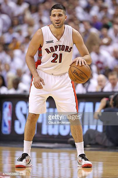 Greivis Vasquez of the Toronto Raptors sets up a play against the Washington Wizards in Game One of the NBA Eastern Conference Quarterfinals at the...