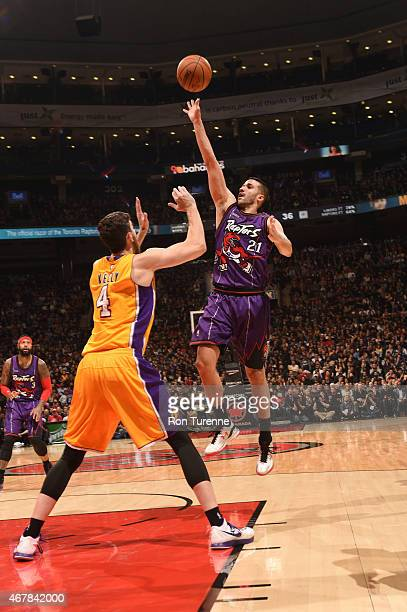 Greivis Vasquez of the Toronto Raptors shoots against the Los Angeles Lakers during the game on March 27 2015 at Verizon Center in Toronto Canada...