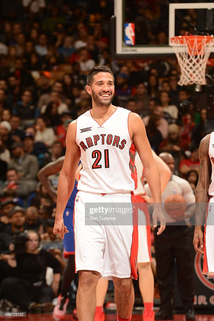 <a gi-track='captionPersonalityLinkClicked' href=/galleries/search?phrase=Greivis+Vasquez&family=editorial&specificpeople=4066977 ng-click='$event.stopPropagation()'>Greivis Vasquez</a> #21 of the Toronto Raptors smiles during the game against the Philadelphia 76ers on November 9, 2014 at the Air Canada Centre in Toronto, Ontario, Canada.