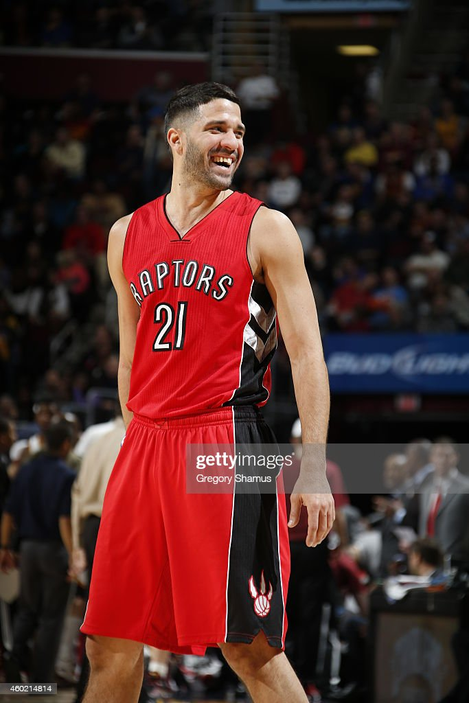 <a gi-track='captionPersonalityLinkClicked' href=/galleries/search?phrase=Greivis+Vasquez&family=editorial&specificpeople=4066977 ng-click='$event.stopPropagation()'>Greivis Vasquez</a> #21 of the Toronto Raptors smiles during the game against the Cleveland Cavaliers on December 9, 2014 at The Quicken Loans Arena in Cleveland, Ohio.