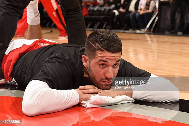 Greivis Vasquez of the Toronto Raptors stretches before a game against the Washington Wizards during Game Two of the Eastern Conference Quarterfinals...