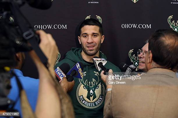 Greivis Vasquez recently acquired by the Milwaukee Bucks is introduced to the media during a press conference at the Orthopaedic Hospital of...