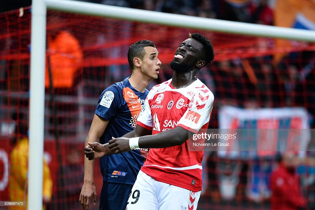 Grejonh Kyei of Reims is dejected during the French Ligue 1 match between Stade de Reims and Montpellier Herault SC at Stade Auguste Delaune on April 30, 2016 in Reims, France.