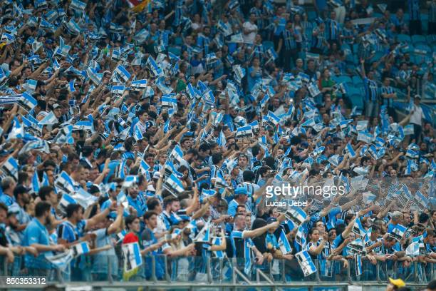 Gremio fans before the match between Gremio and Botafogo as part of Copa Bridgestone Libertadores 2017 quarterfinals at Arena do Gremio on September...