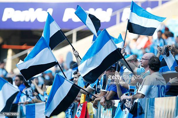 Gremio fans before the match Gremio v Sao Paulo as part of Brasileirao Series A 2016 at Arena do Gremio on July 24 2016 in Porto Alegre Brazil