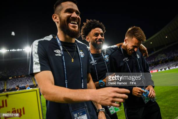 Gremio FBPA players visit the Hazza Bin Zayed stadium ahead of their semifinal match against CF Pachuca on December 11 2017 in Al Ain United Arab...