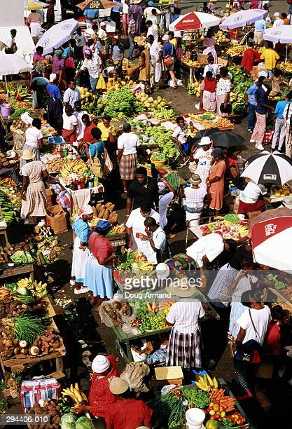 Grenada, St George's, market, elevated view