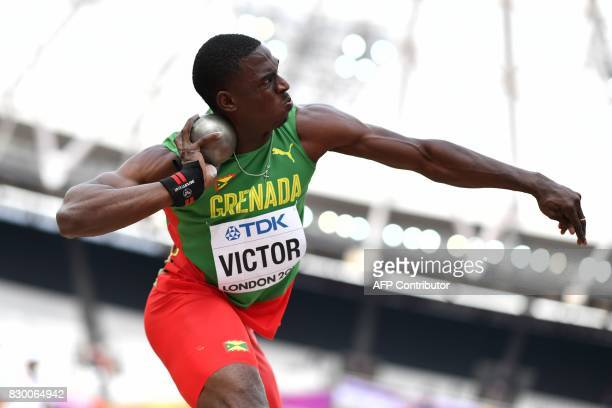 Grenada's Lindon Victor competes in the men's decathlon shot put athletics event at the 2017 IAAF World Championships at the London Stadium in London...