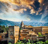 View of the famous Alhambra, Granada in Spain.