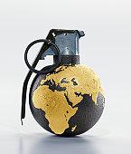 Grenade showing middle east, studio shot