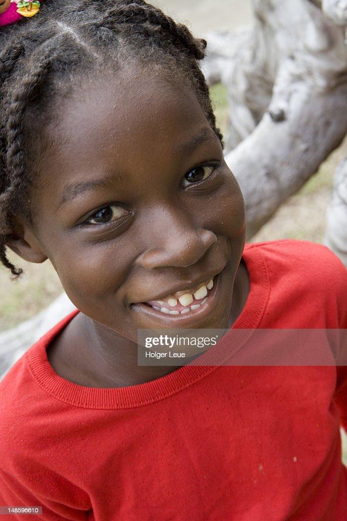 Grenadian girl, Paradise Beach. : Stock Photo