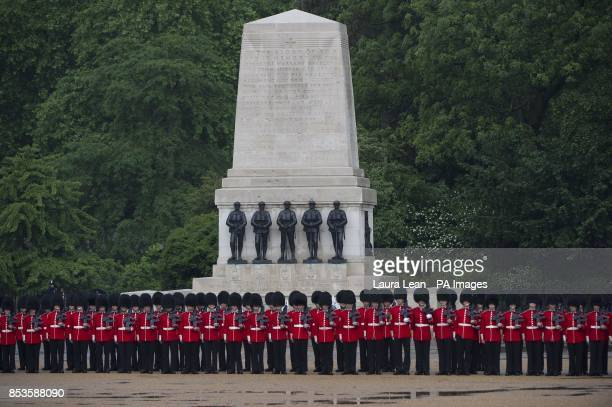 Grenadier Guards during the Colonel's Review the final rehearsal of Trooping the Colour the Queen's annual Birthday parade in central London