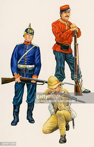 Grenadier of the Prussian infantry Prussia 1871 soldier of the British colonial troops United Kingdom 1898 Garibaldino soldier Italy 1860...