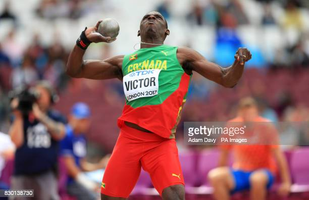 Greneda's Lindon Victor competes in the Men's Decathlon Shot Put during day eight of the 2017 IAAF World Championships at the London Stadium