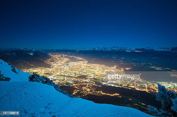 Grenoble Panorama de nuit d'hiver