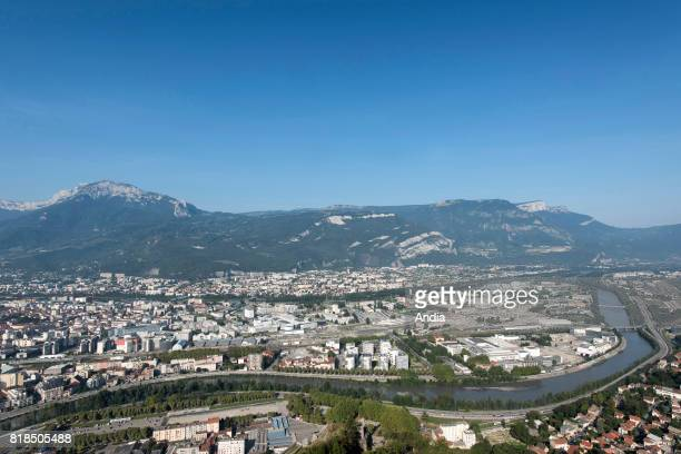 Grenoble the peninsula at the confluence of the Drac and the Isere rivers where is located the French Alternative Energies and Atomic Energy...