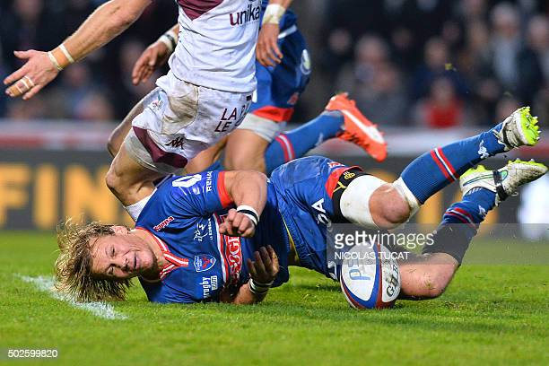 Grenoble's South African scrumhalf Charl Mcleod falls during the French Top 14 rugby union match between BordeauxBegles and Grenoble on December 27...