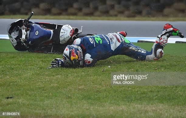 TOPSHOT Gresini Racing Moto3's Italian rider Enea Bastianini crashes out of the first practice session for the Moto3 Australian Grand Prix at Phillip...