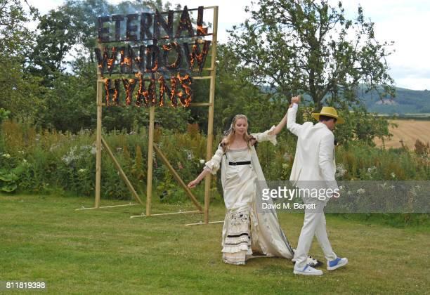 Greta Bellamacina and Robert Montgomery dance at their wedding on July 8 2017 in Exeter England