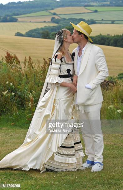 Greta Bellamacina and Robert Montgomery pose at their wedding on July 8 2017 in Exeter England