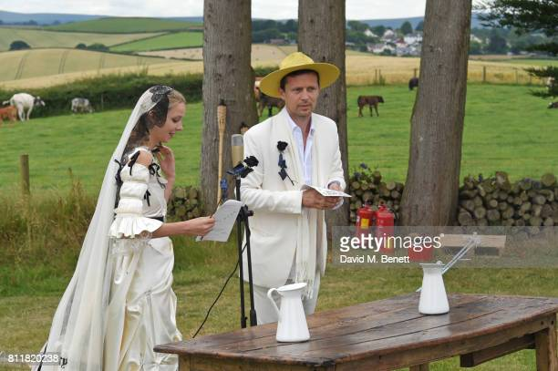 Greta Bellamacina and Robert Montgomery speak at their wedding on July 8 2017 in Exeter England